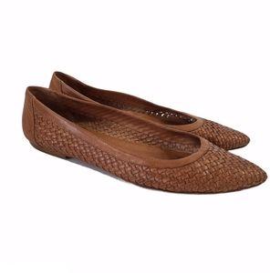 Sesto Meucci Woven Leather Brown Flats size 39